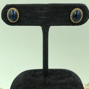14K Gold Filled Lapis Lazuli Stud Earrings